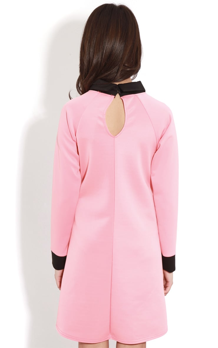 Evelyn Coral Long Sleeved Collar Dress 2