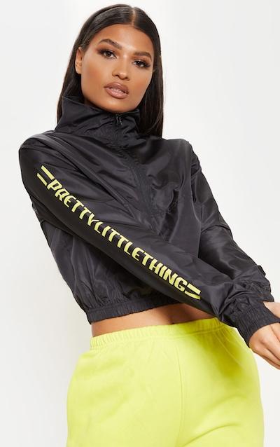 be4eb5eda5 PRETTYLITTLETHING Black Logo Stripe Shell Zip Up Top