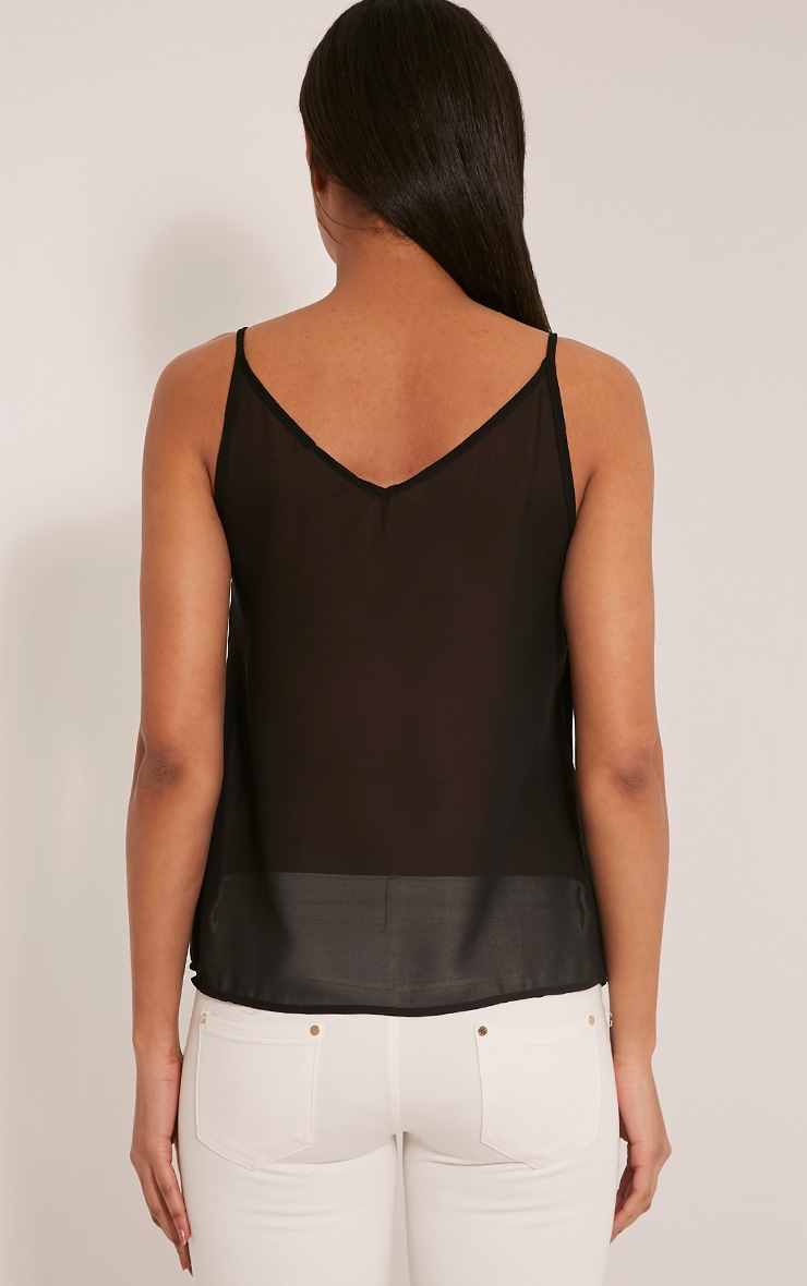 Sienna Black Lace Insert Cami Top 2