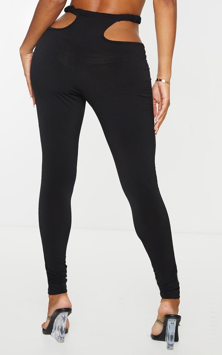 Shape Black Slinky Ruched Waist Cut Out Leggings 3