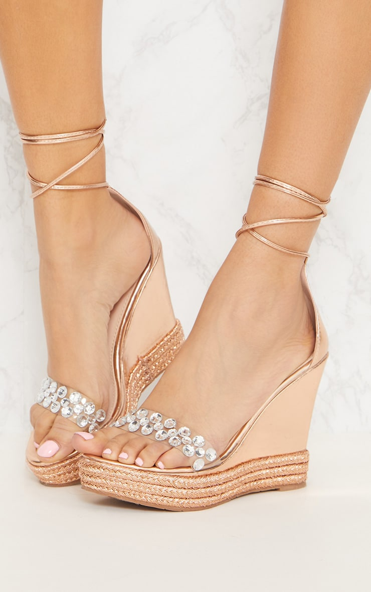 Rose Gold Jewelled High Wedge  2