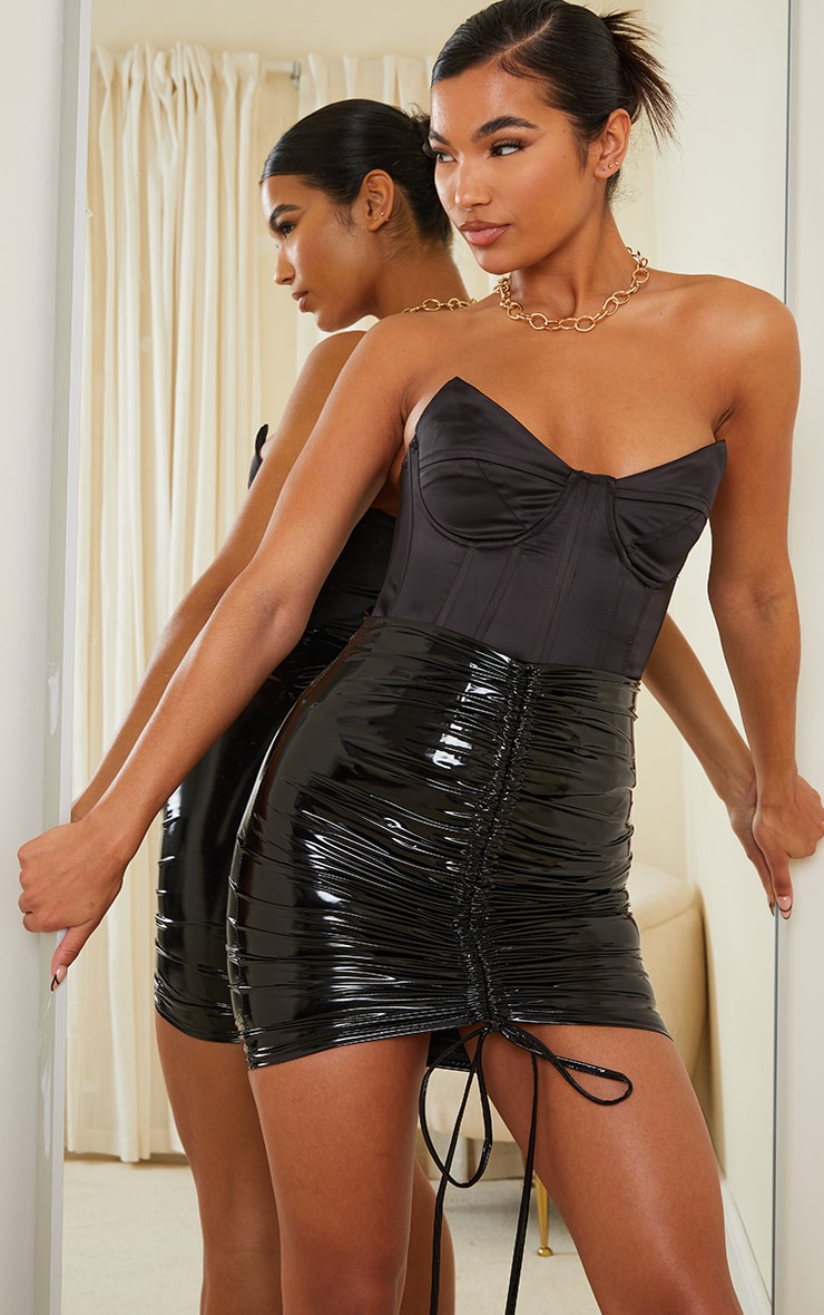 Black Vinyl Ruched Front Mini Skirt 4