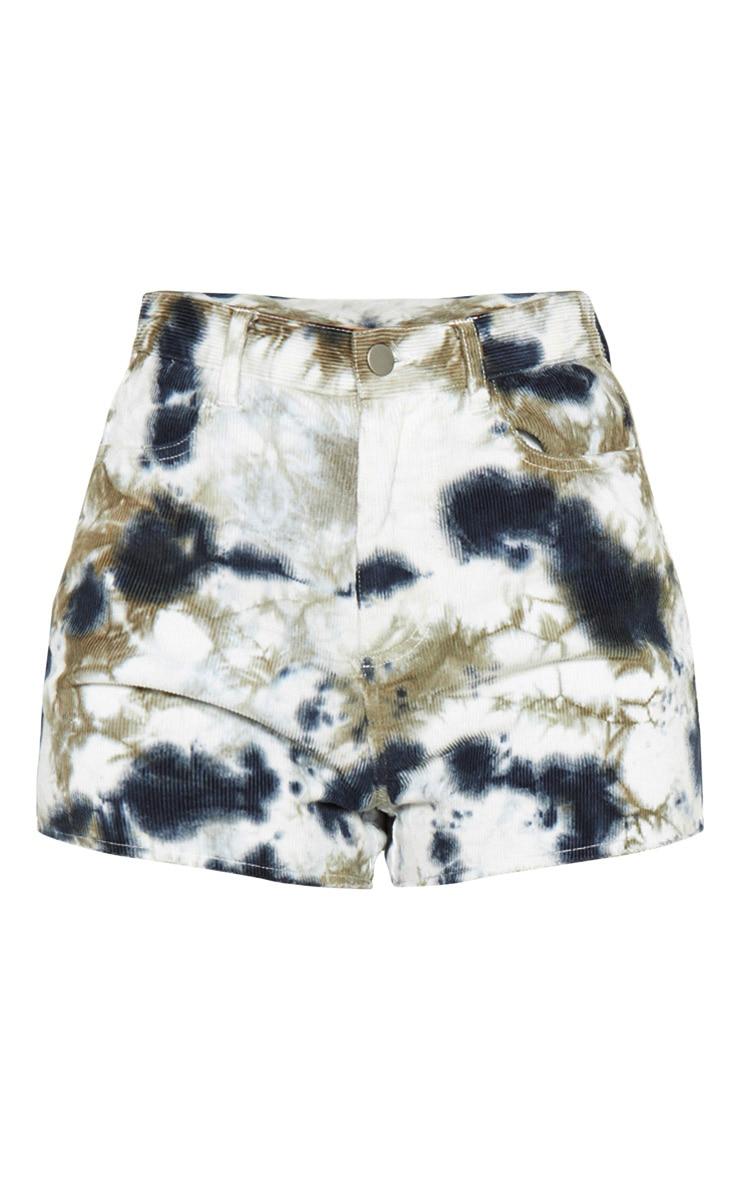 Blue Tie Dye Cord Denim Mom Shorts 3