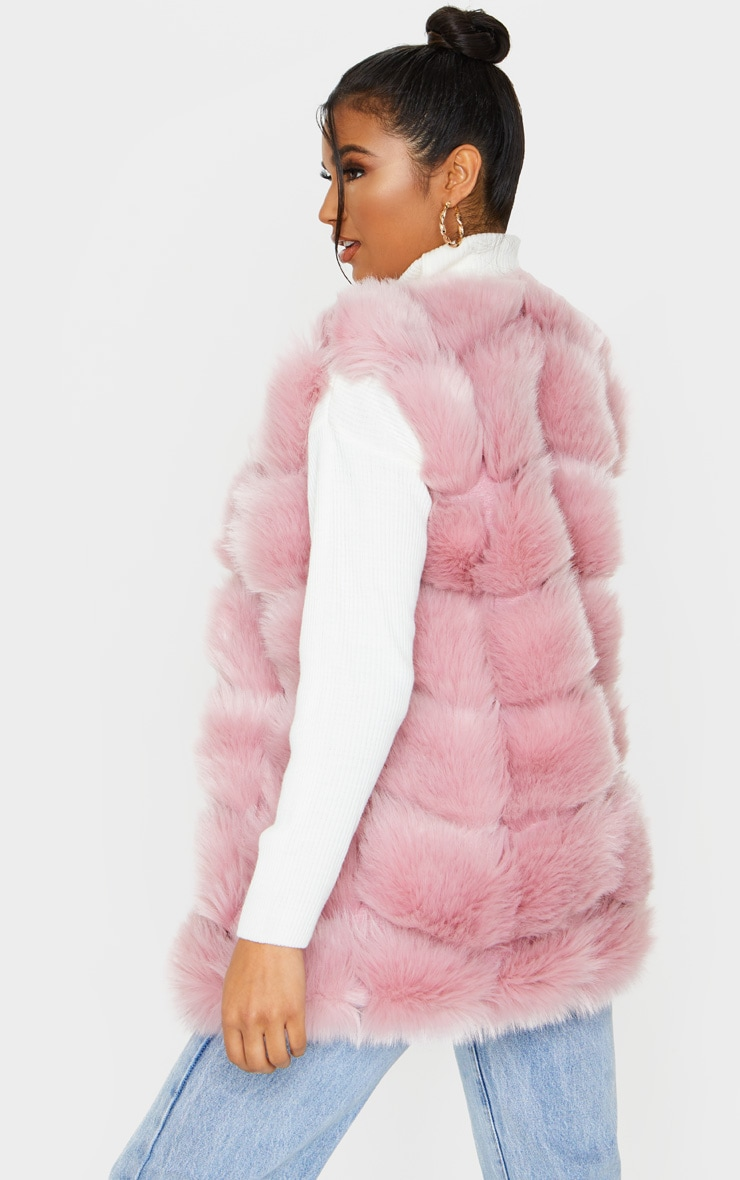 Dusty Pink Faux Fur Longline Gilet 2