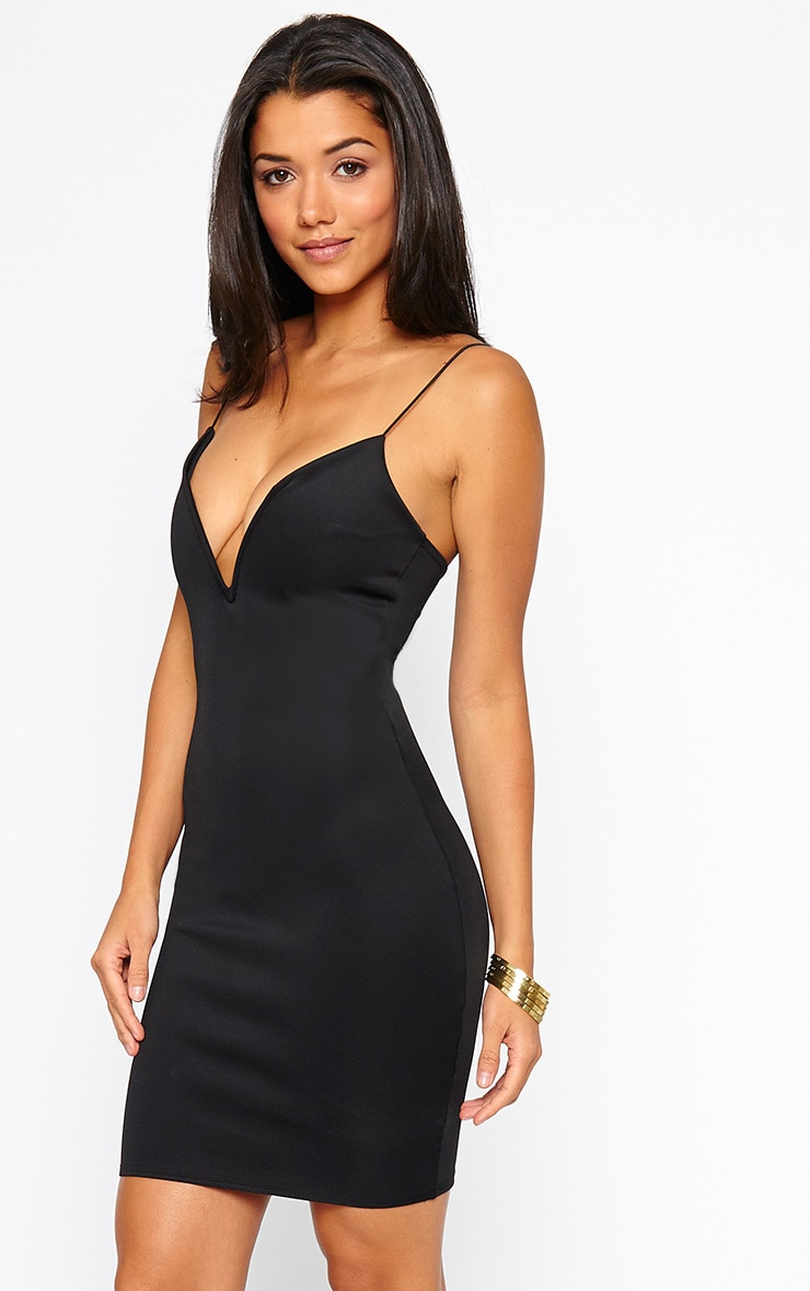 Marisole Black Plunge Front V Bar Dress 1