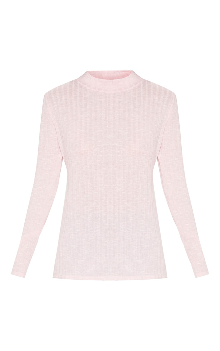 Baby Pink Long Sleeve High Neck Top 3