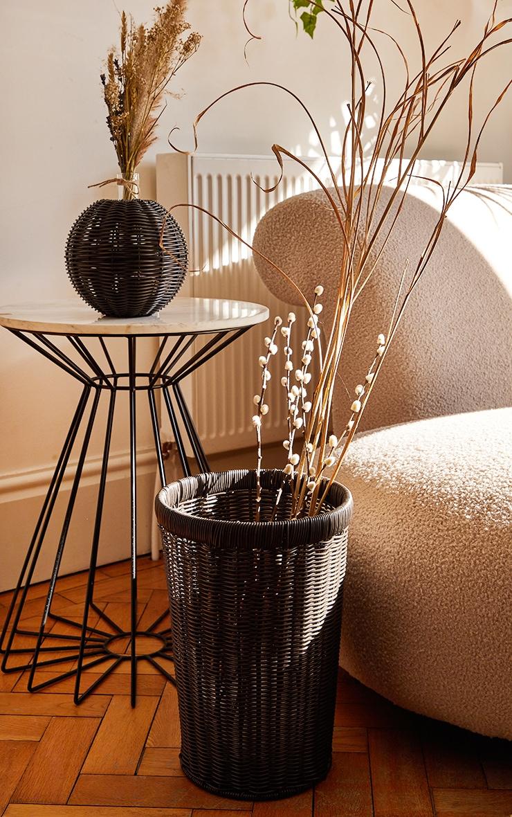 Black Wicker Medium Storage Basket 1