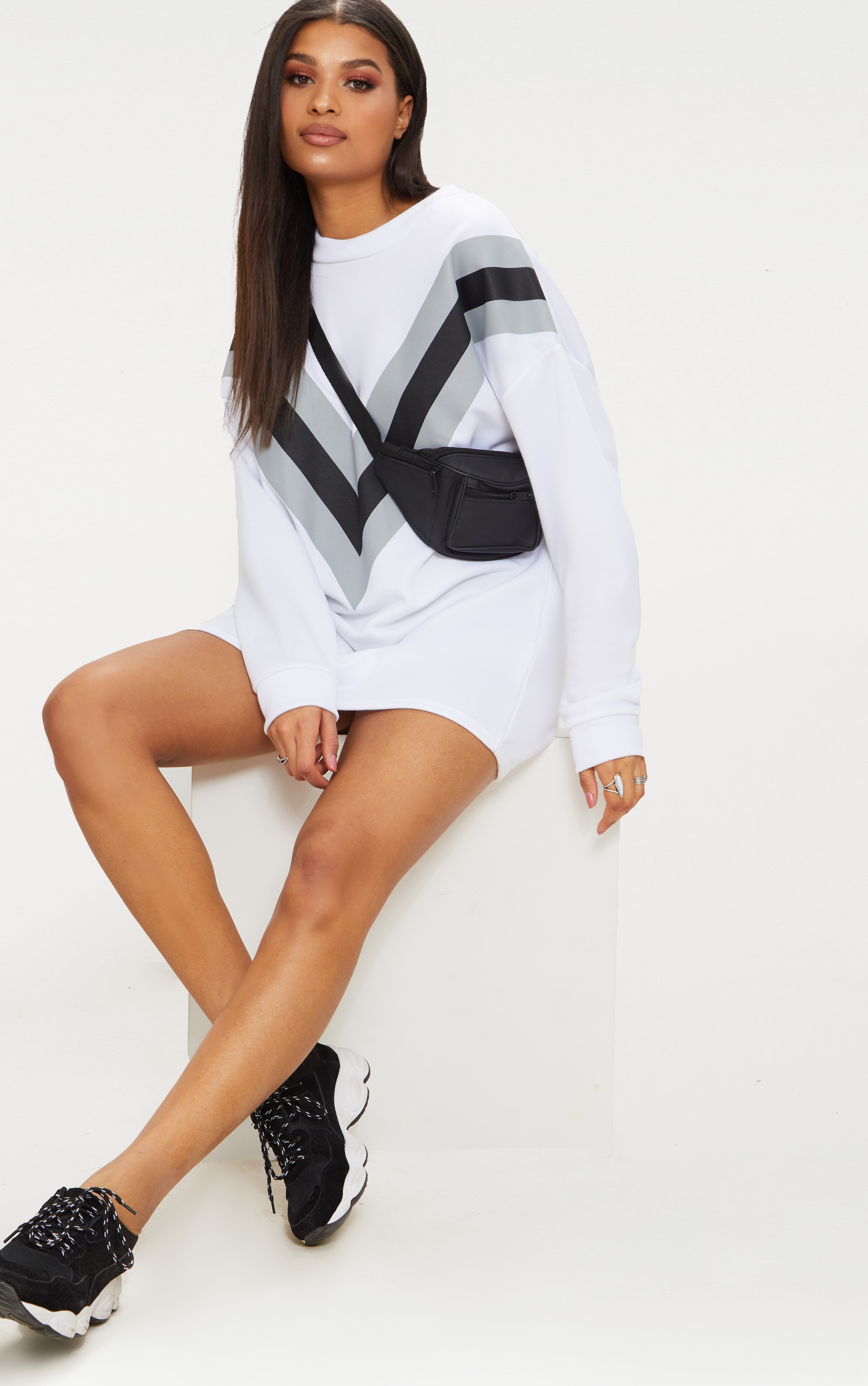 White Chevron Oversized Jumper Dress  1