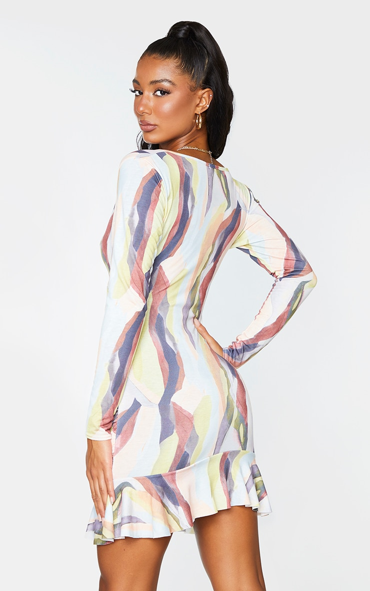 Multi Watercolor Print Ruched Wrap Frill Hem Bodycon Dress 2