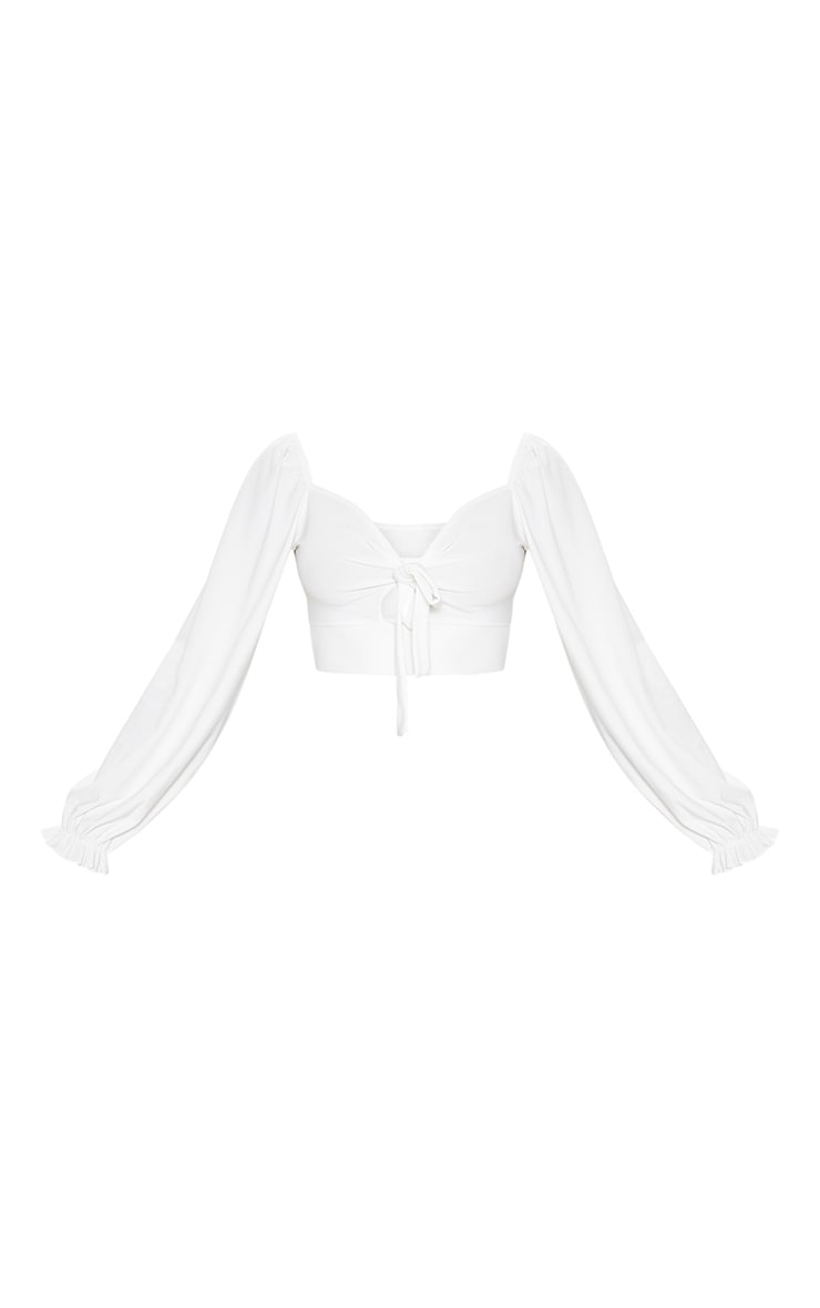 White Puff Long Sleeve Tie Front Crop Top 3