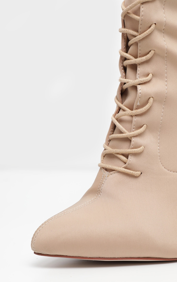 Nude Wide Fit Lace Up Sock Boot 4