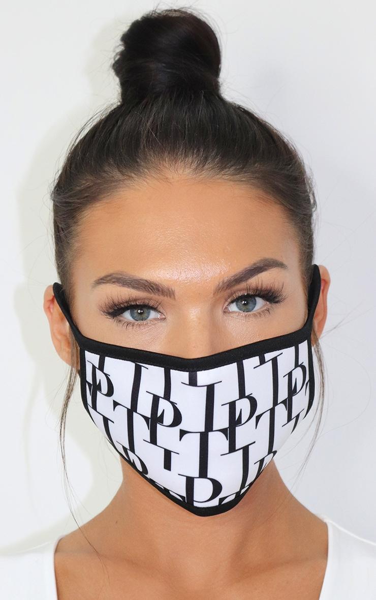 PLT White Monogram Print Fashion Mask 1