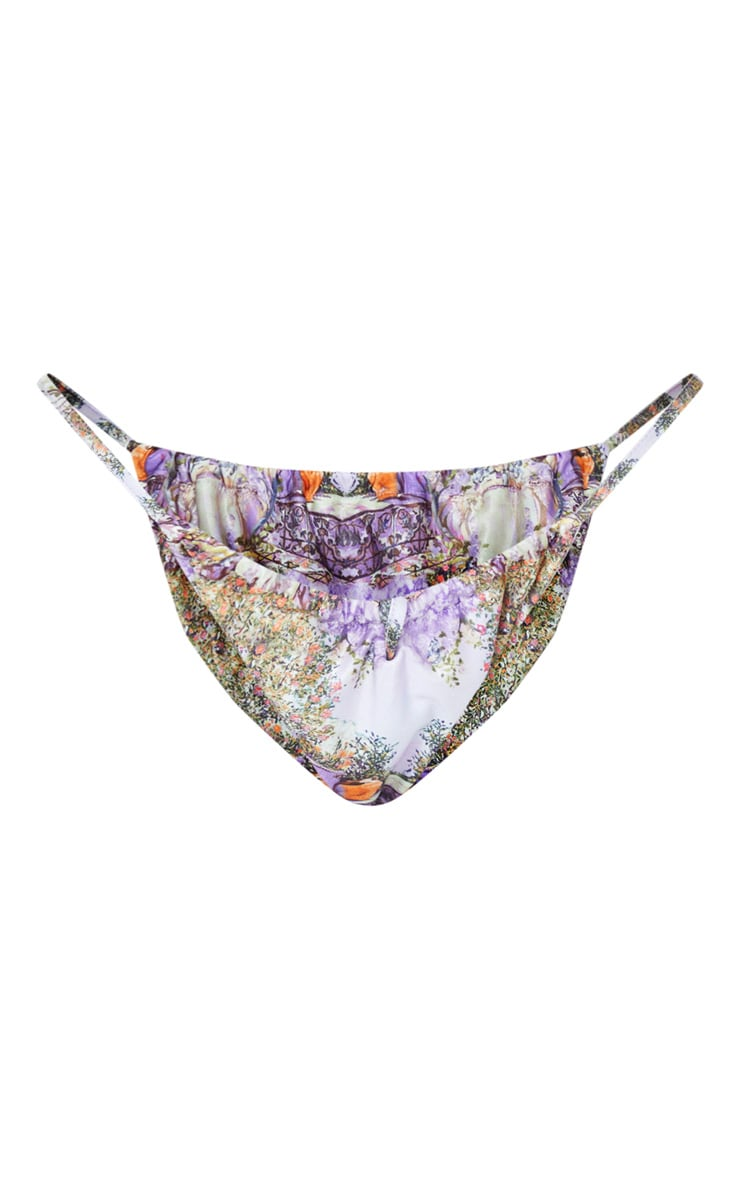 Purple Garden Scene Print Drawstring Ruched Bikini Bottom 5
