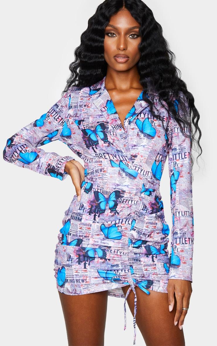 PRETTYLITTLETHING Multi Butterfly Print Plunge Blazer Style Bodycon Dress 1