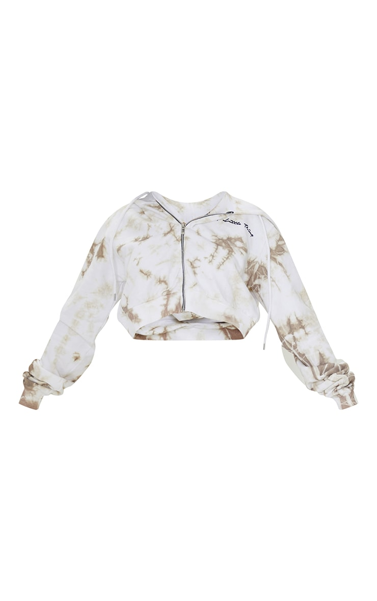 PRETTYLITTLETHING Petite Stone Tie Dye Cropped Embroidered Zip Hoodie 5