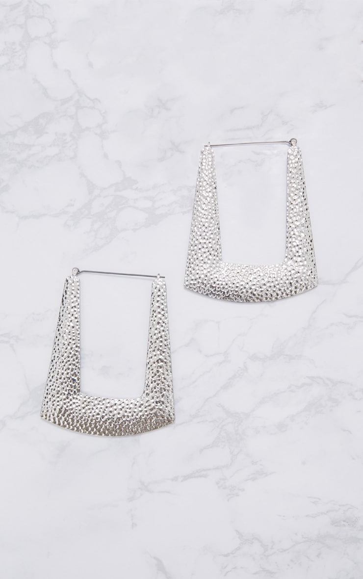 Silver Square Textured Hoop Earrings 3