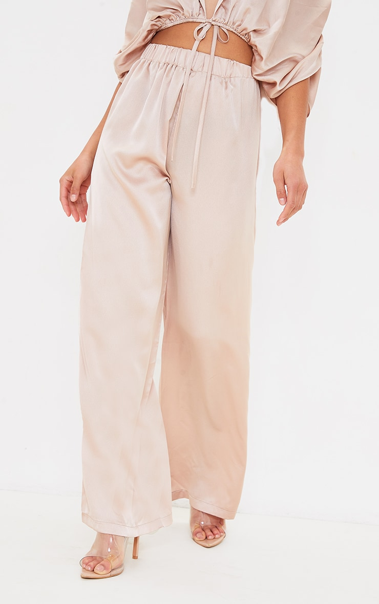Petite Champagne Satin High Wasited Ruched Wide Leg Pants 2