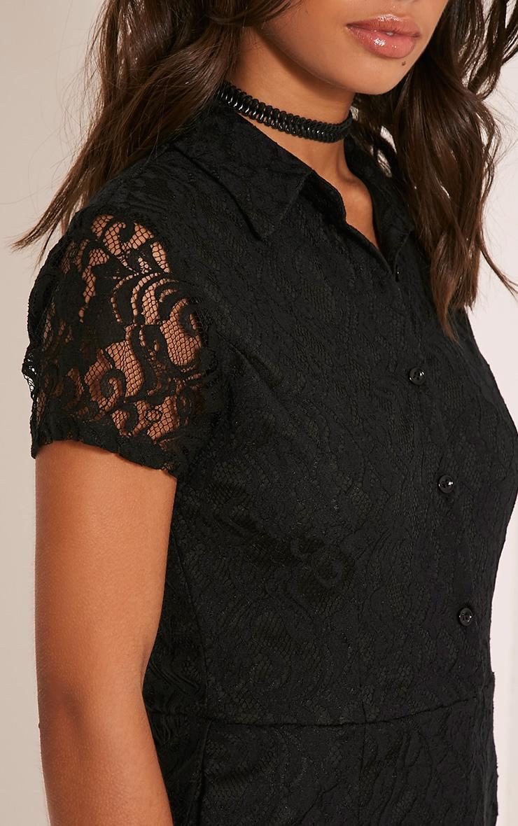 Clarisa Black Lace Shirt Playsuit 6