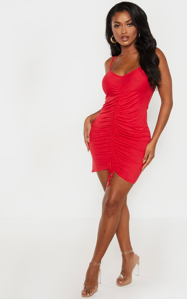 Shape Red Jersey Ruched Bodycon Dress  4
