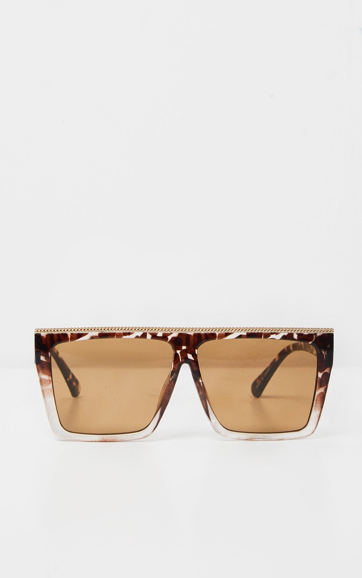 Brown Tortoise Gold Trim Square Frame Sunglasses 2