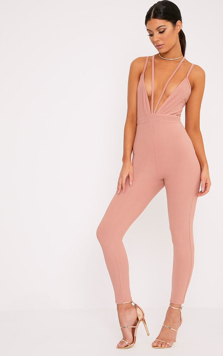 Fenna Dusty Coral Harness Crepe Jumpsuit  4