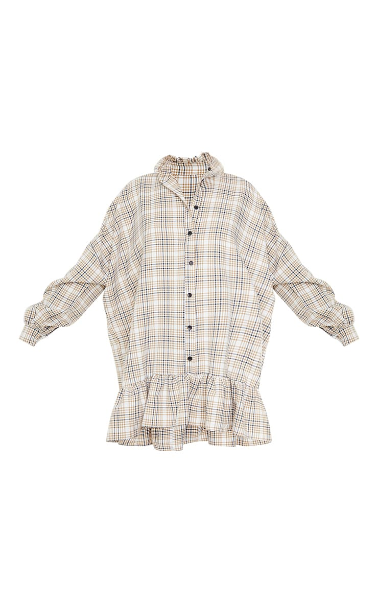 Stone Check Print Frill Hem Collar Detail Shirt Dress 5