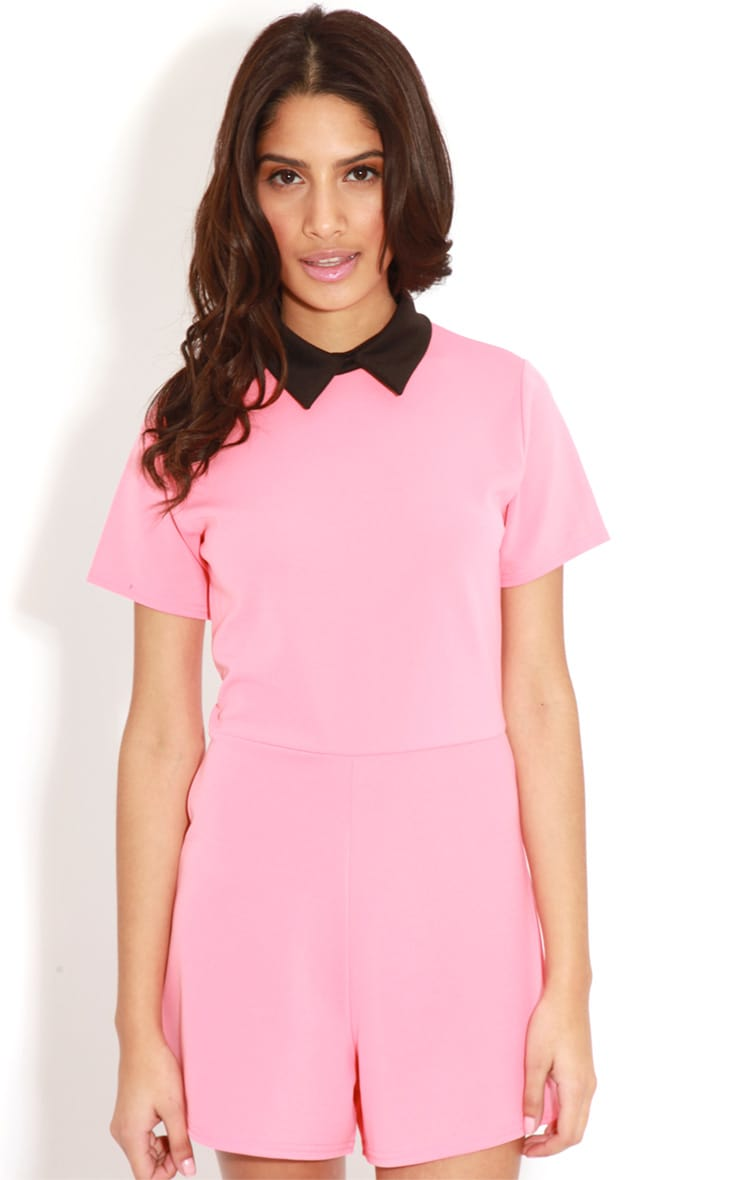 Edie Pink Playsuit With Black Collar Detail-S/M 4