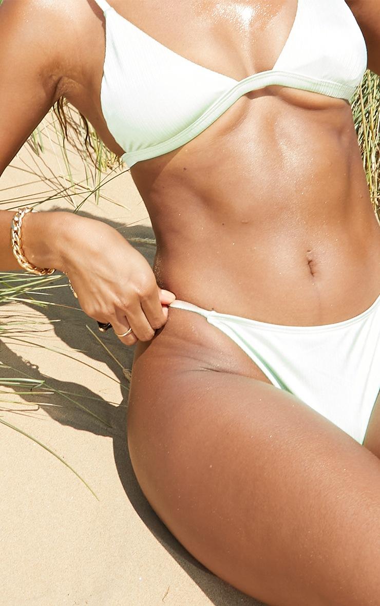 Green  Shiny Thong Bikini Bottoms 4