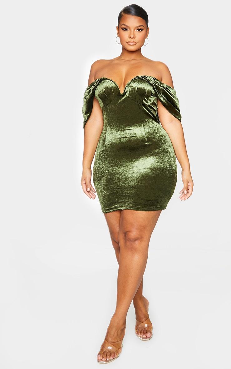 Plus Olive Velvet V Bar Bodycon Dress 1
