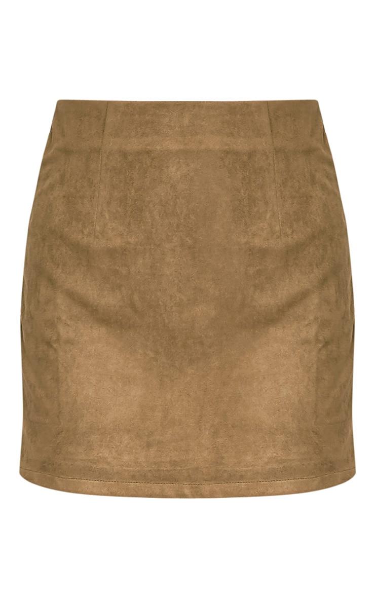Lauree Khaki Faux Suede Mini Skirt 3