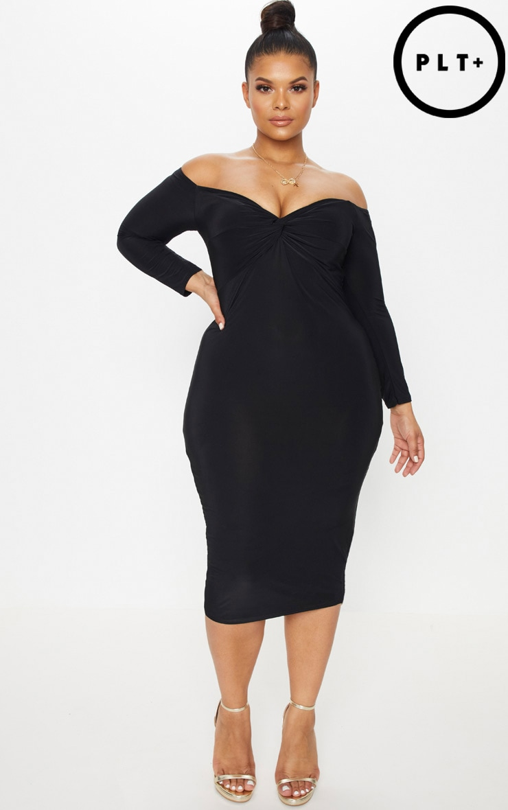 Plus Black Slinky Twist Bardot Midi Dress 1