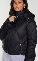 Black Nylon Diamond Quilted Hooded Puffer Jacket 4