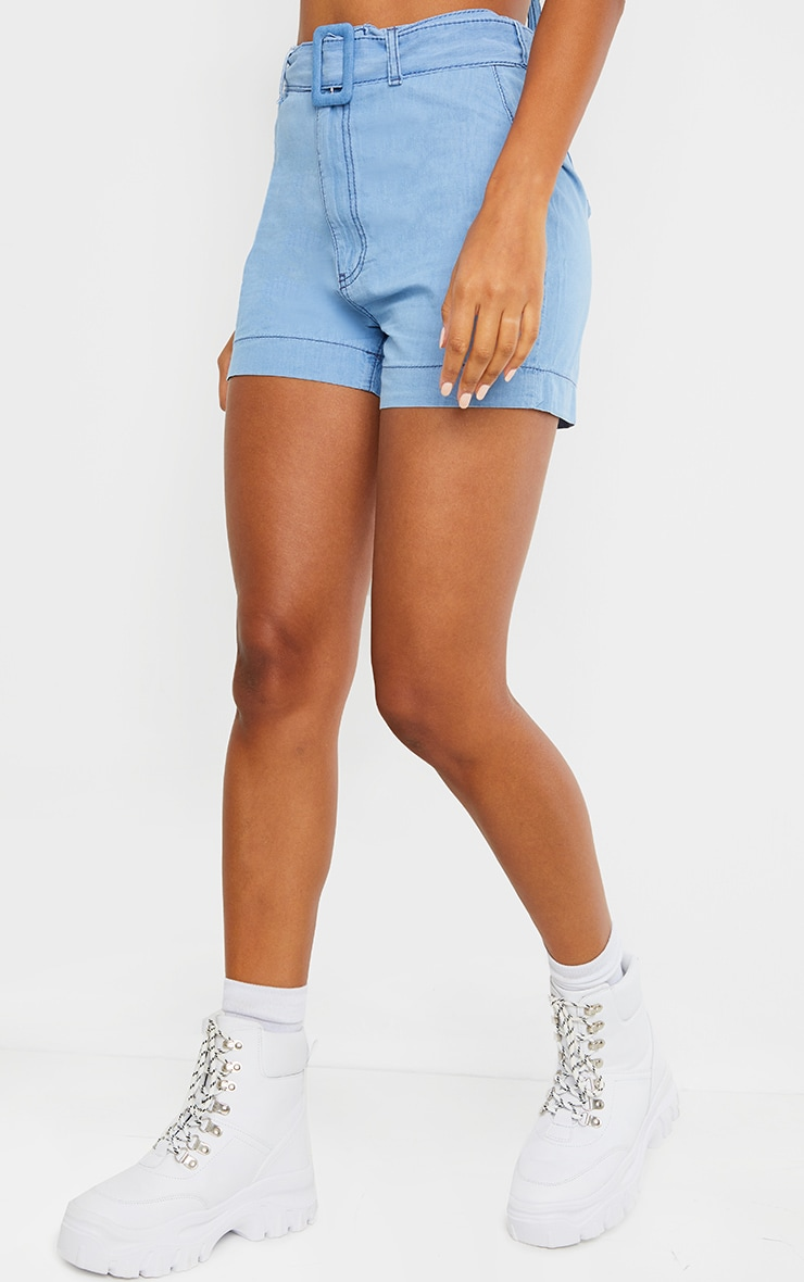 Light Blue Wash Belted High Waist Denim Shorts 2