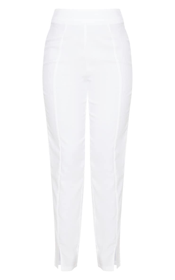 White Straight Leg Woven Suit Pants 3