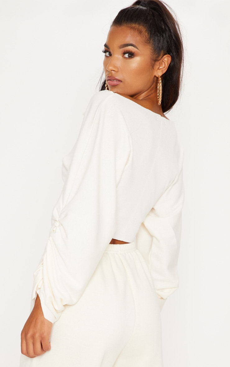 Cream Ribbed Ruched Sleeve Sweater 2