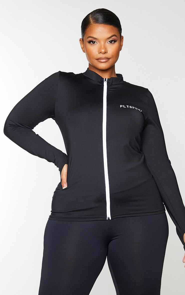 PRETTYLITTLETHING Plus Black Sport Reflective Zip Up Sports Top 1