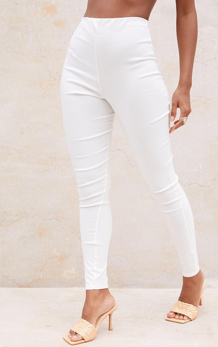 Cream Bengaline Pintuck Seam Leggings 2