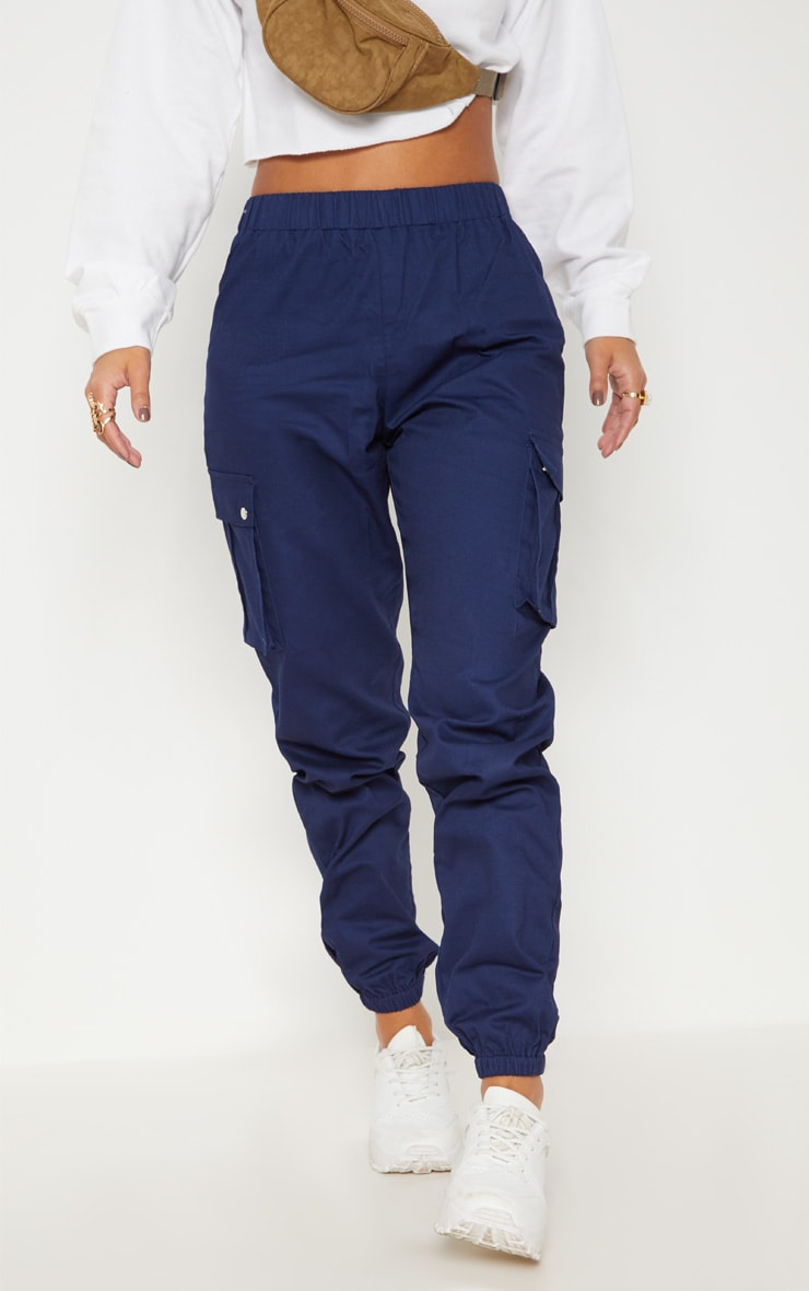 Petite Navy Pocket Detail Cargo Pants 2