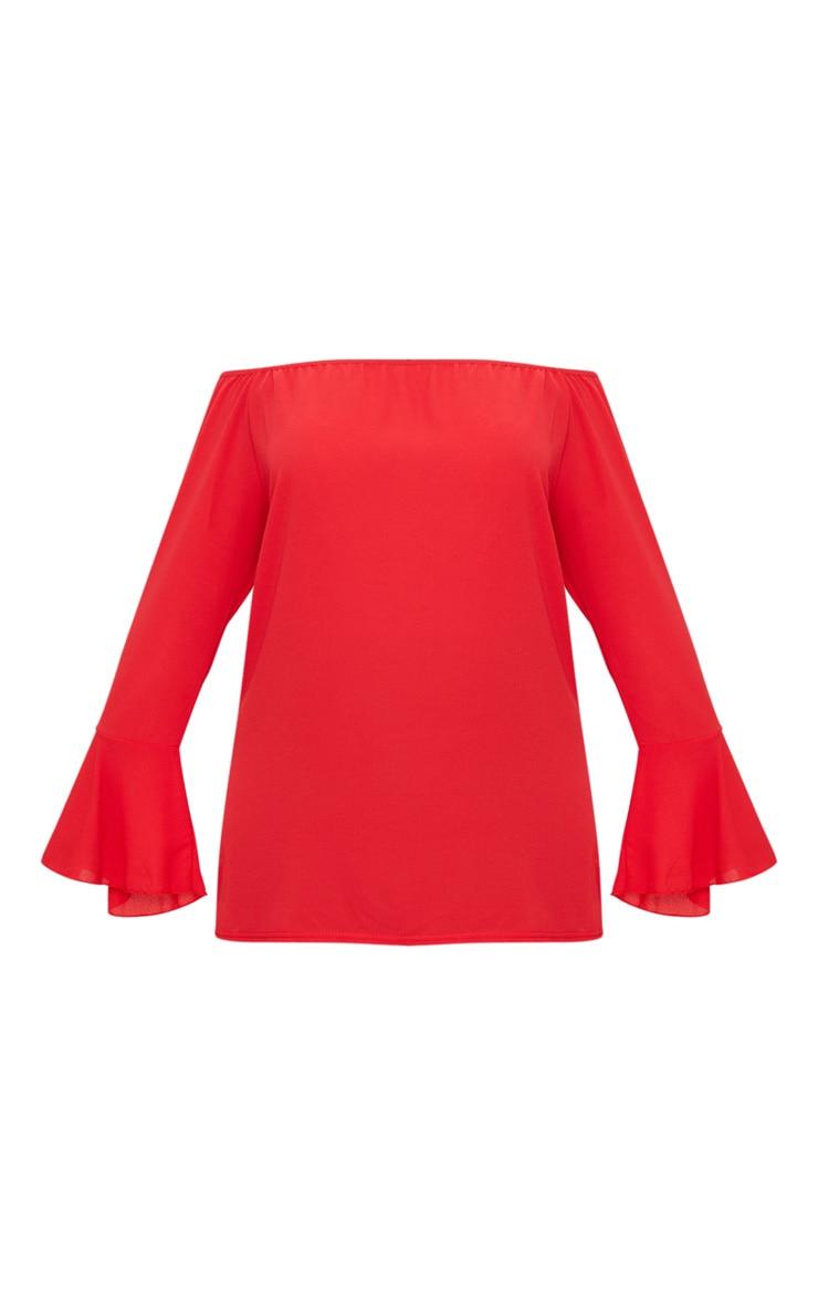 Plus Red Chiffon Bardot Long Sleeve Top 3