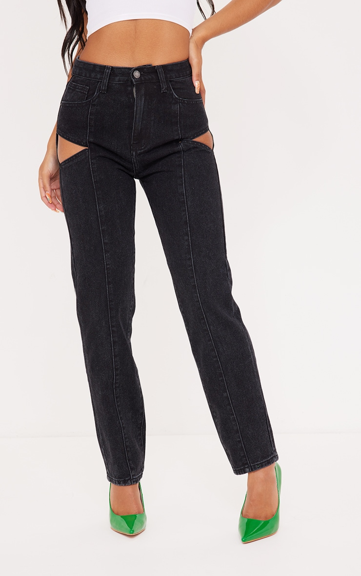 Washed Black Cut Out Seam Detail Straight Leg Jean 2