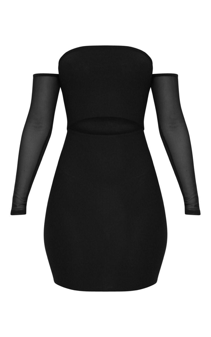 Black Bardot Mesh Sleeve Bodycon Dress 3