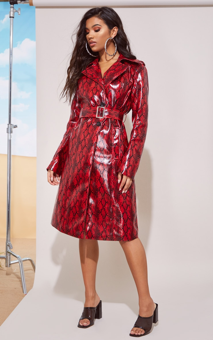 Red Snake Vinyl Trench Coat 5