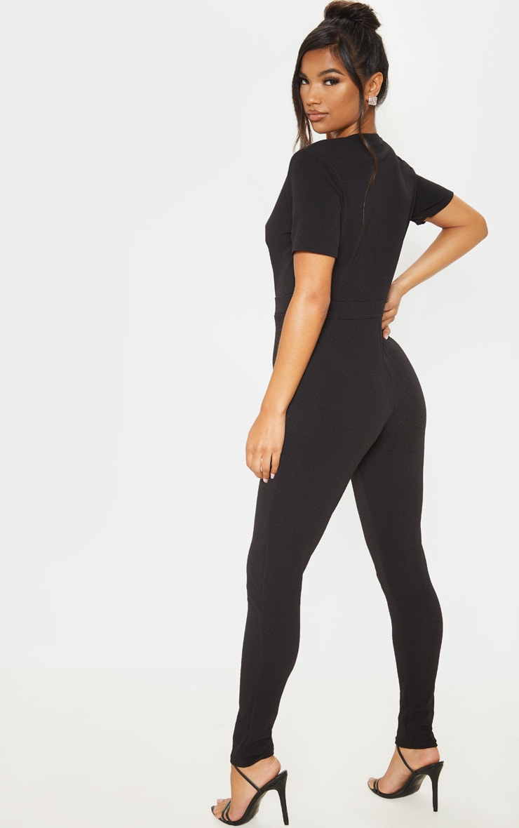 Black Short Sleeve Plunge Jumpsuit 2