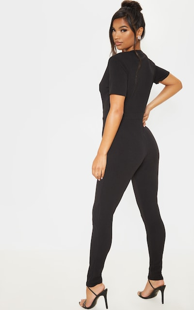 Black Short Sleeve Plunge Jumpsuit