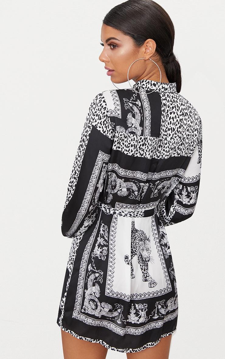 Black Leopard Scarf Print Tie Waist Shirt Dress 2
