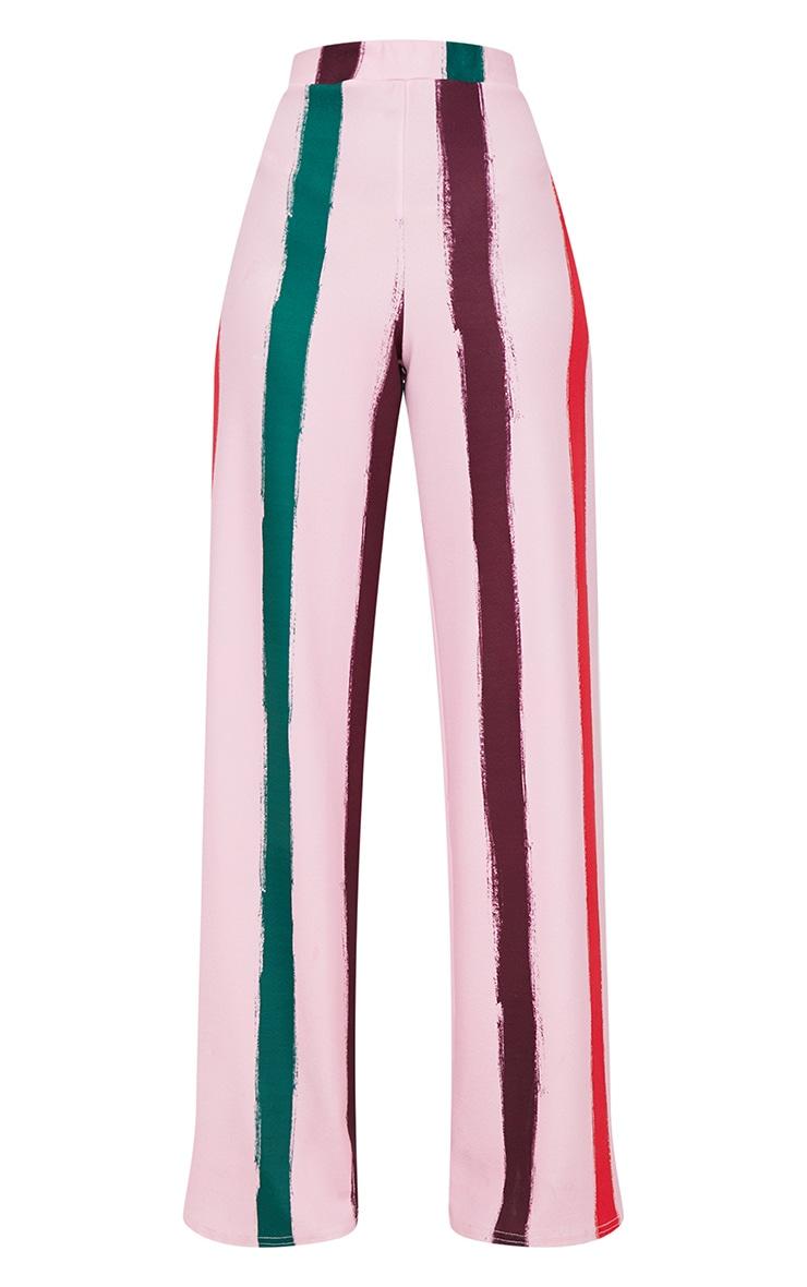 Light Pink Multi Thick Stripe Wide Leg Trousers  3