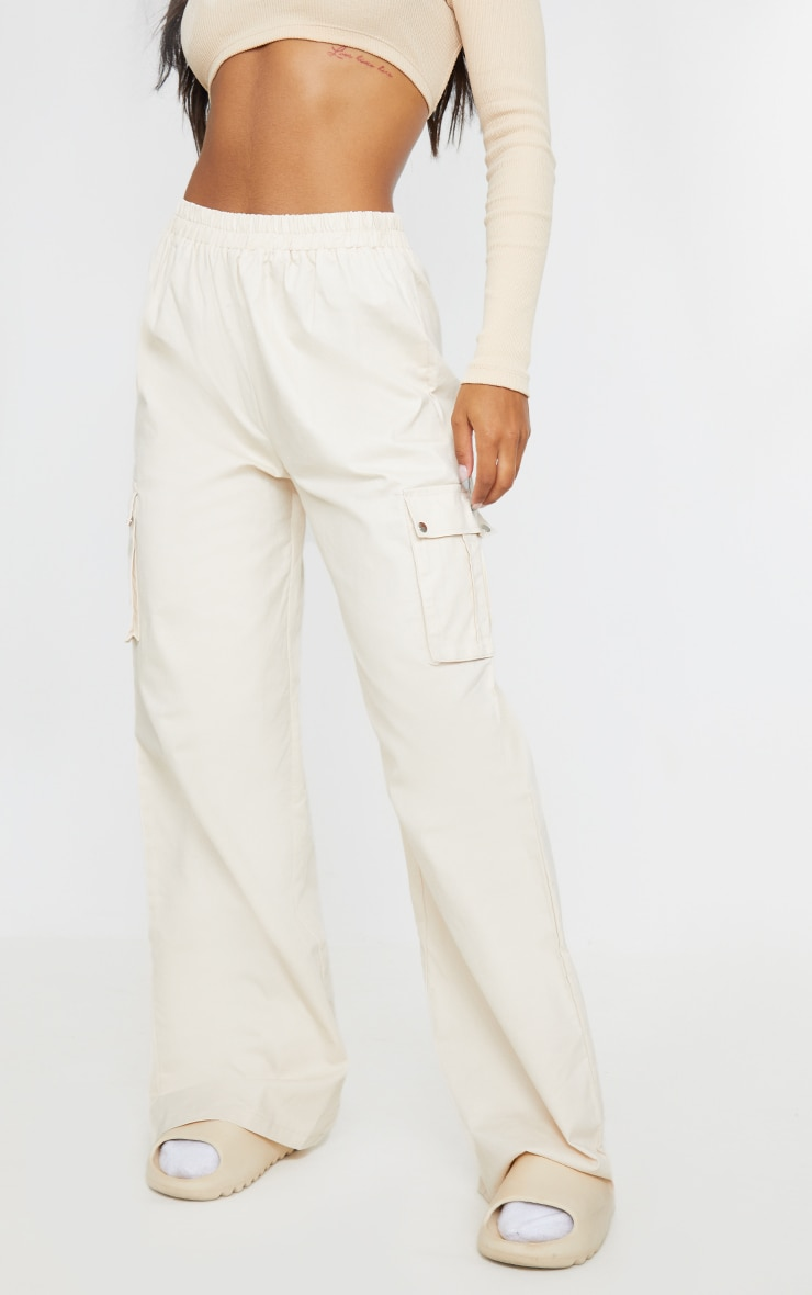 Pantalon large crème style cargo  3