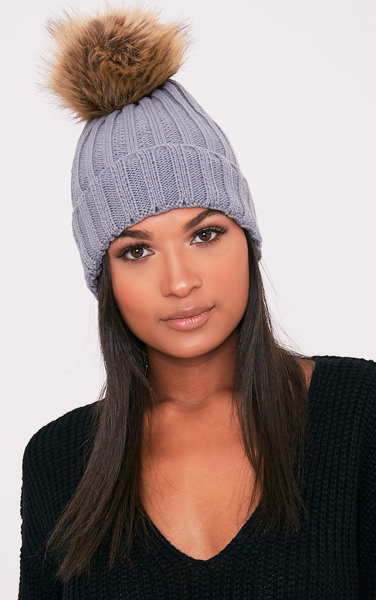 Lucille Grey Knitted Oversized Pom Pom Beanie 1