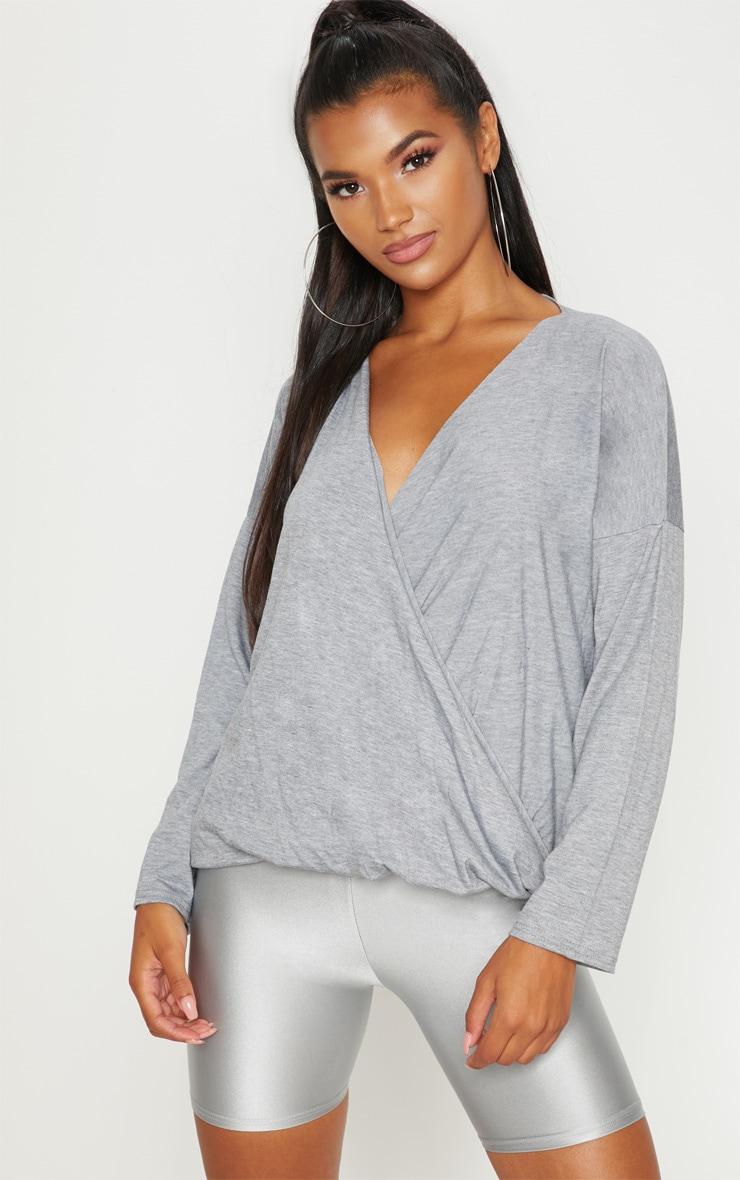 Grey Jersey Drape Wrap Top 4
