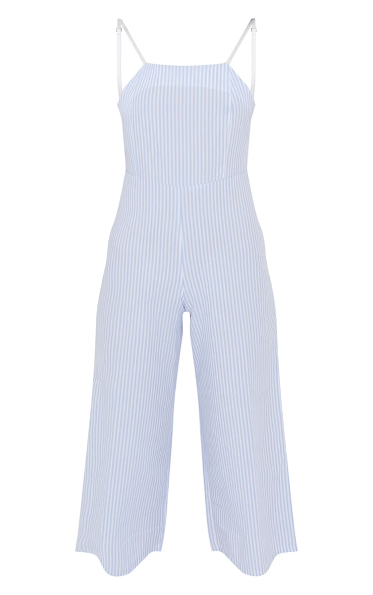 Blue Stripe Tie Back Culotte Jumpsuit 5